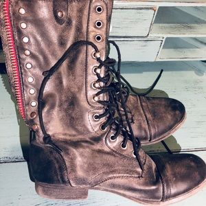 Shoes - Galleriaa Steel Grey Combat Boots 7M Lace & Zipper